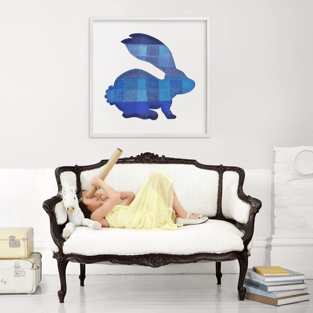 blue party bunny framed art