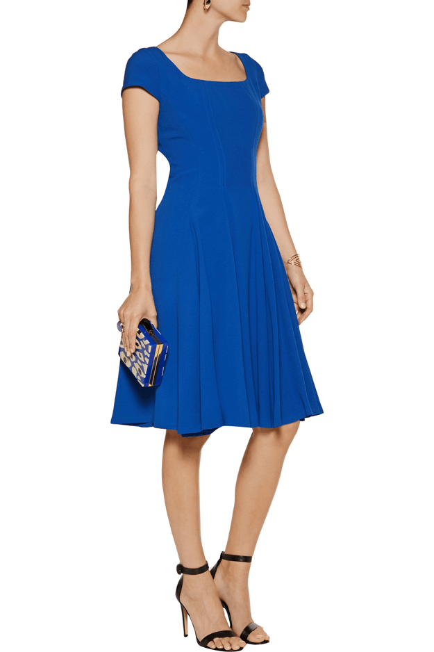lapis blue pleated crepe dress