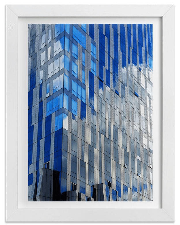bright blue reflection in skyscraper glass print