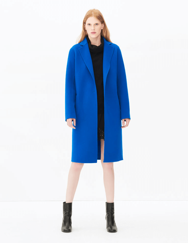 bright blue long coat