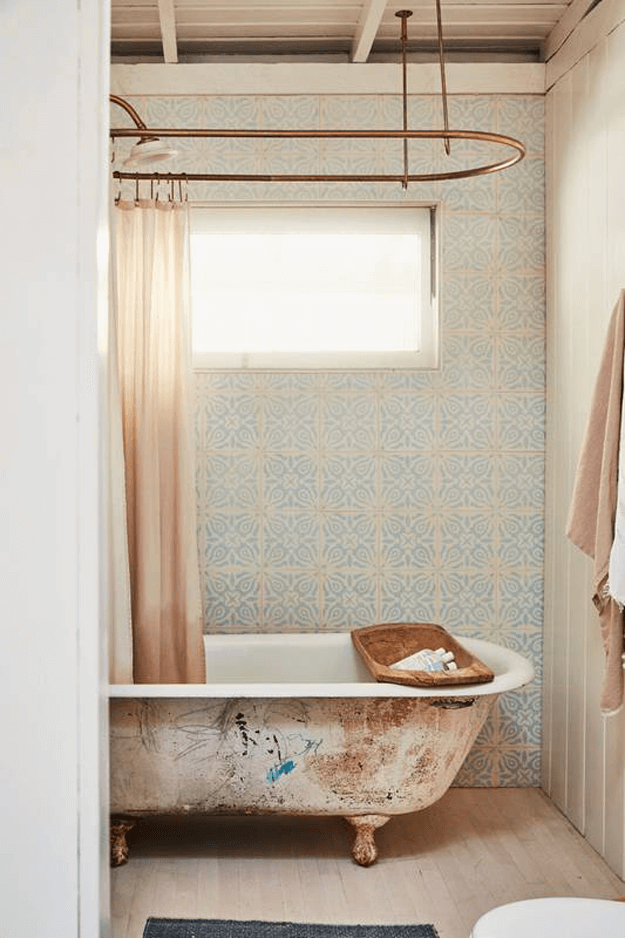 vintage style bathroom with beige accents