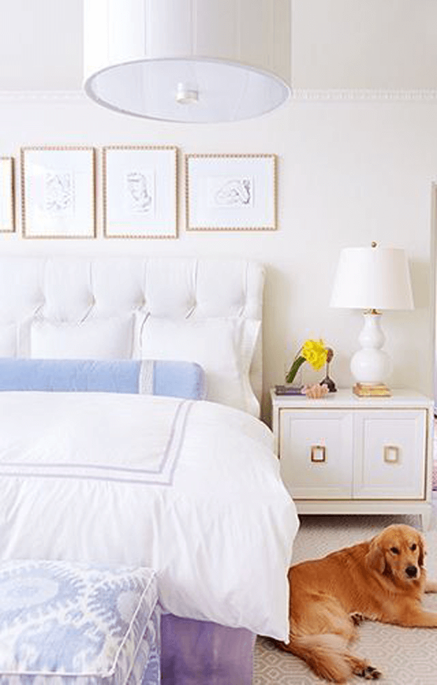 white bedroom with periwinkle accents