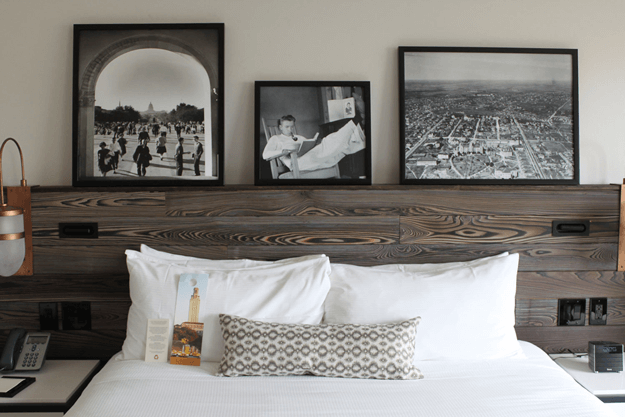 charred wood paneled headboard