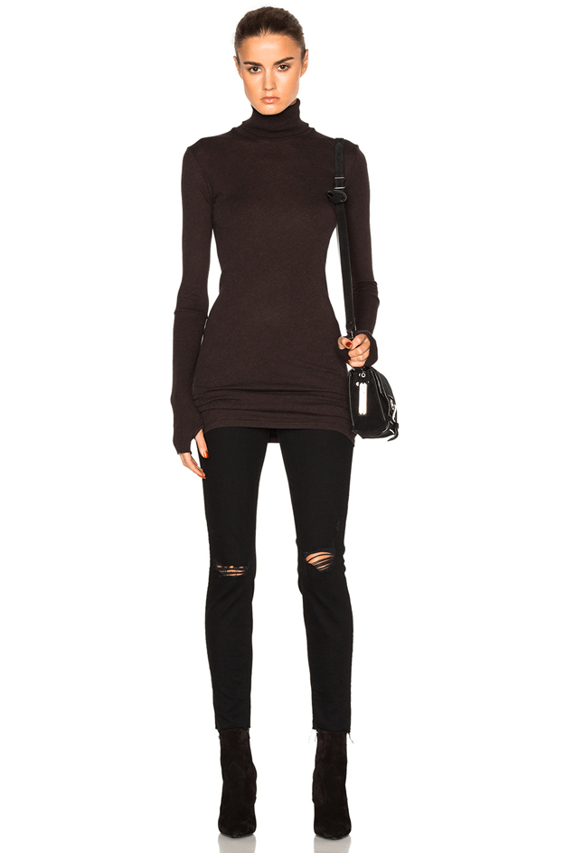 dark bronze turtleneck dress