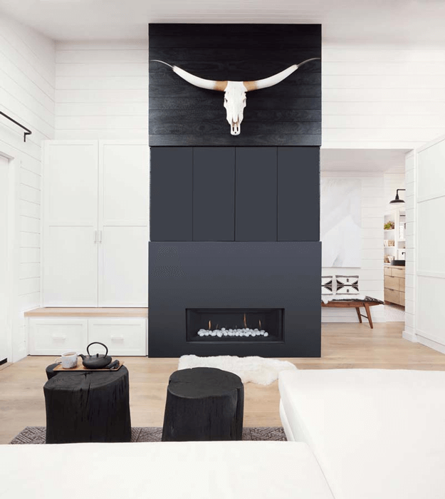 black and white interior with shou sugi ban accent wall