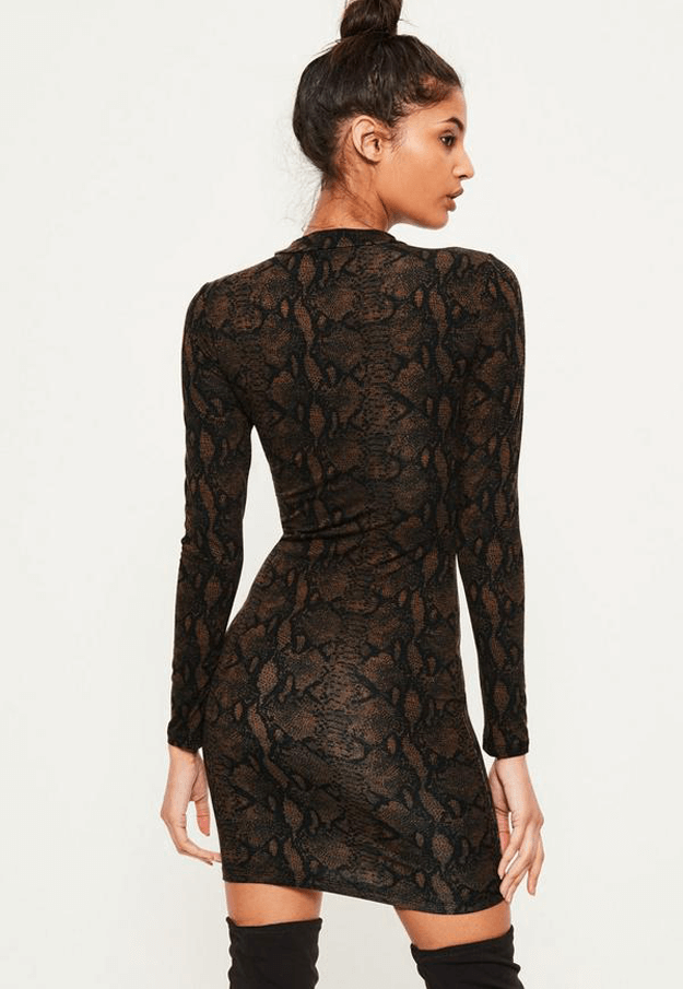 dark brown snake print dress