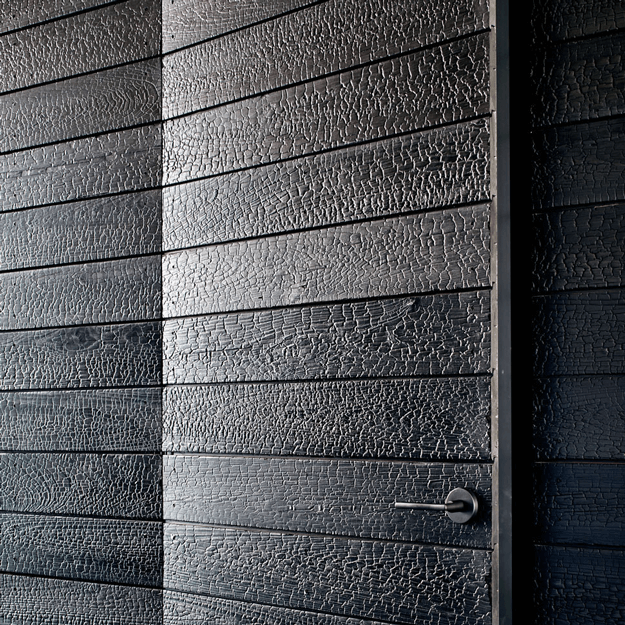 shou sugi ban charred wood door