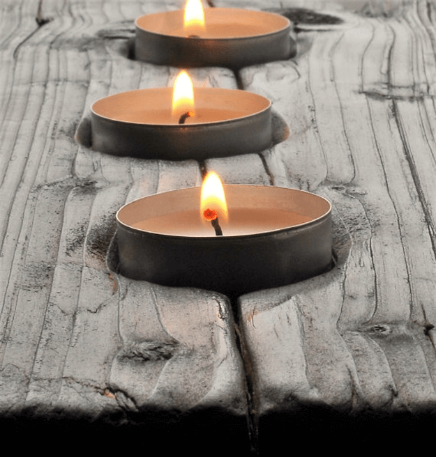 shou sugi ban tealight holder
