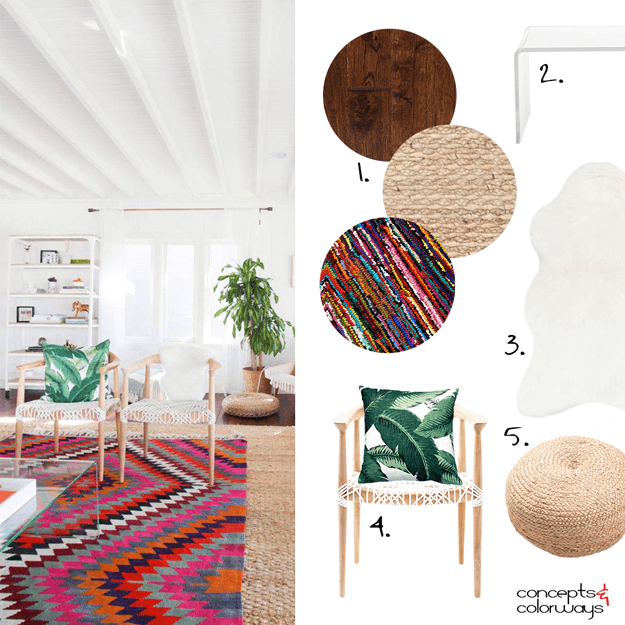 white bungalow interior mood board with colorful accents