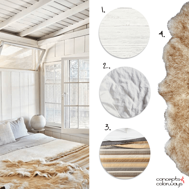 warm toned cottage style bedroom get the look mood board