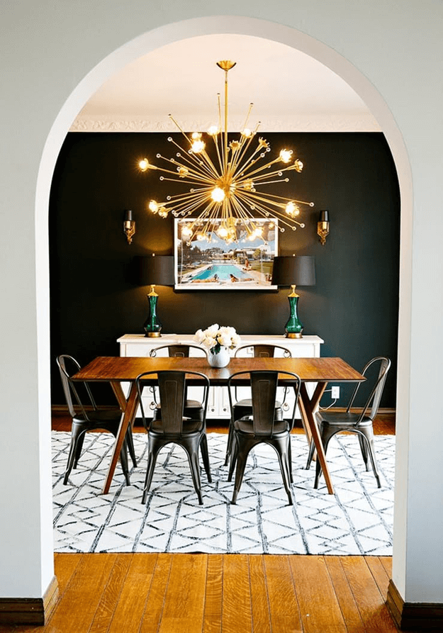 modern dining room interior with industrial metal chairs