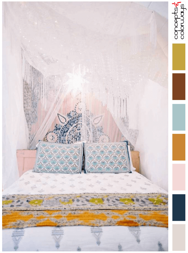 bohemian style orange and pink bedroom