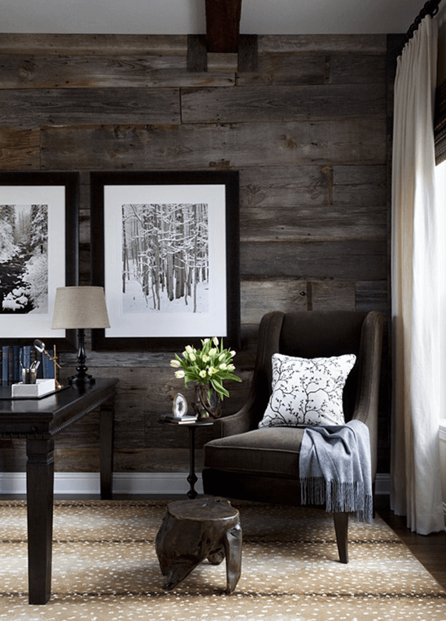 home office with dark reclaimed wood paneling