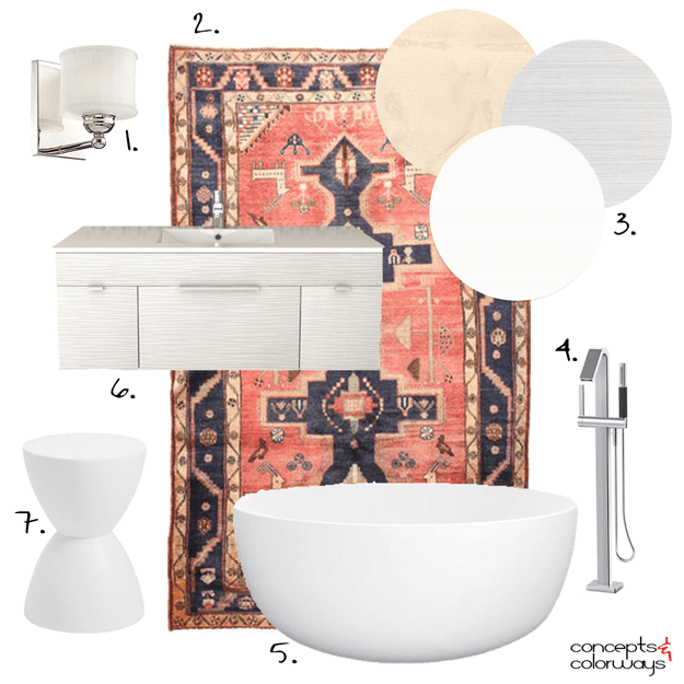 bathroom interior design get the look mood board with persian rug
