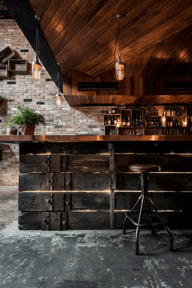 rustic industrial bar interior