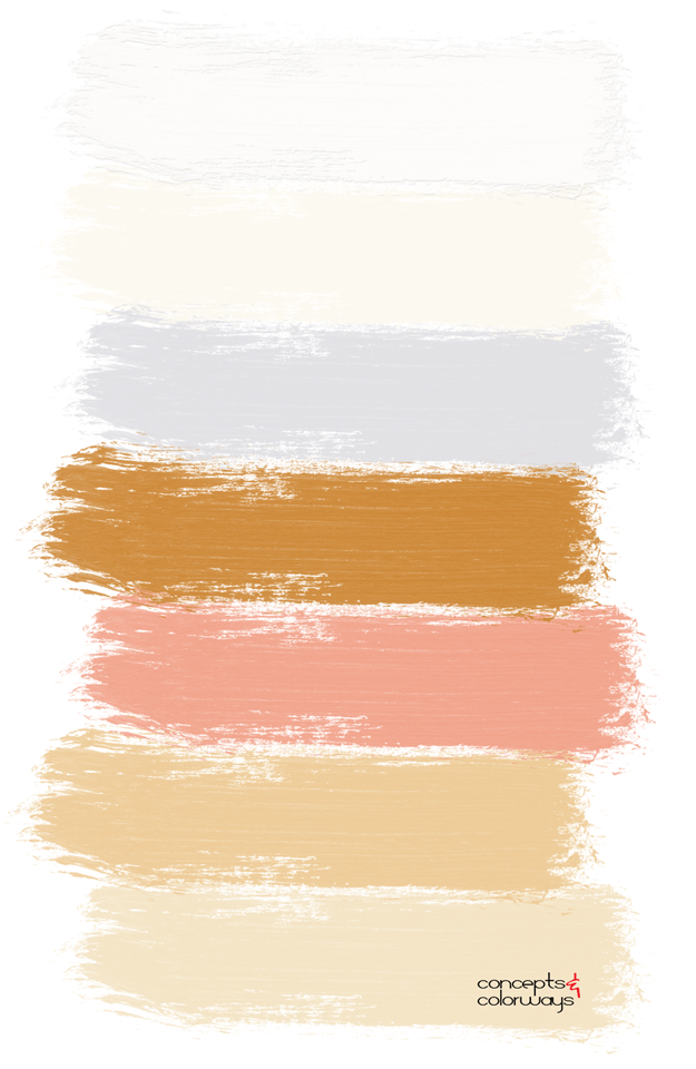 peach tangerine and gold paint palette