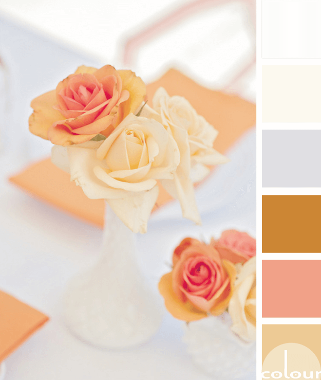 peach tangerine and gold table styling