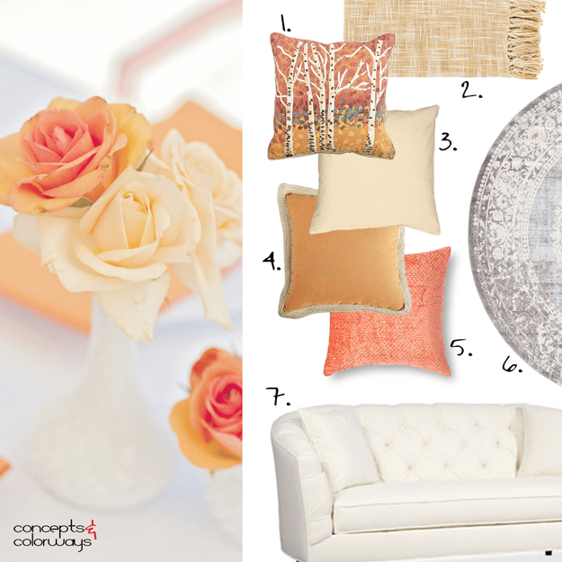 peach gold tangerine interior mood board