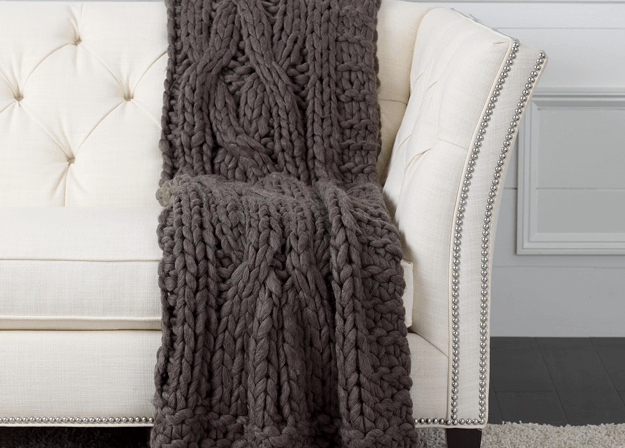 dark brown knit throw blanket