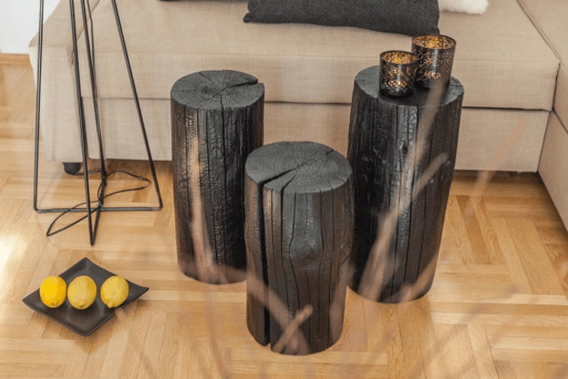 shou sugi ban tree stump table set