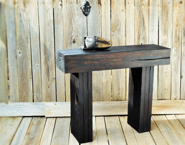shou sugi ban charred reclaimed wood entry table