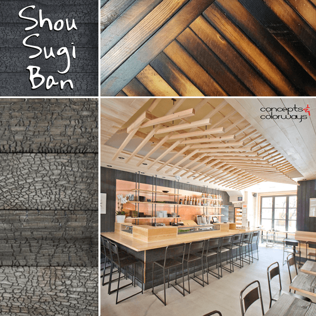 shou sugi ban charred wood interior design element