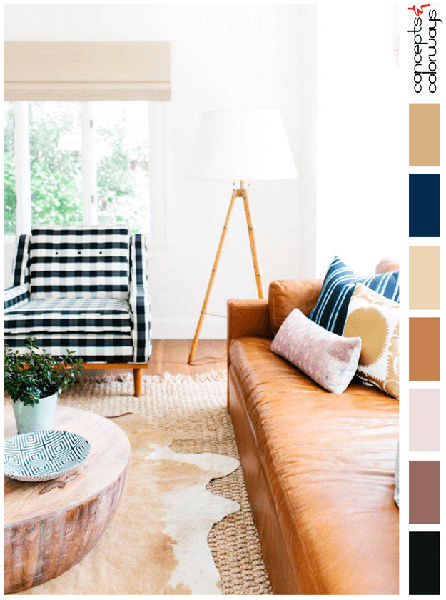eclectic living room with waram toned color palette