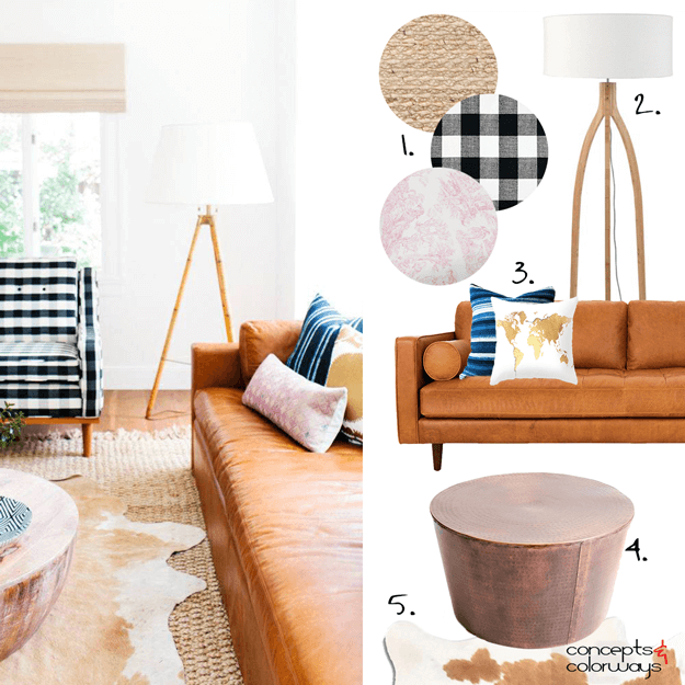 eclectic living room get the look mood board
