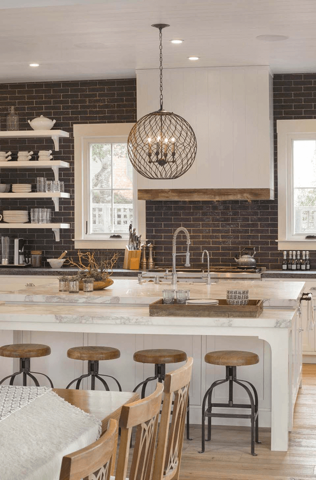 white kitchen with dark brown tile backsplash