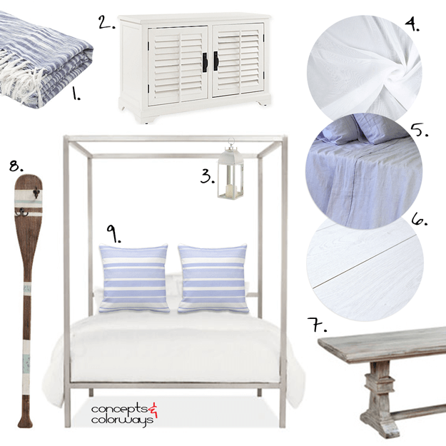 periwinkle and white beach style bedroom