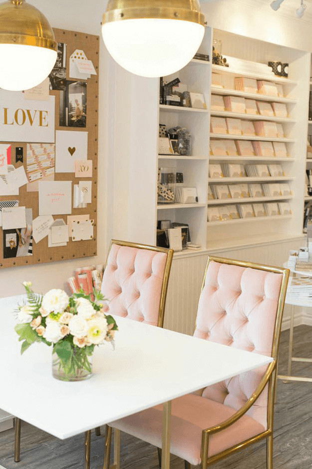 blush pink and gold shop interior