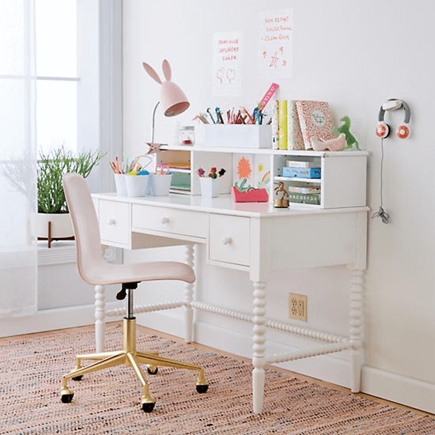 pale pink desk chair with gold base