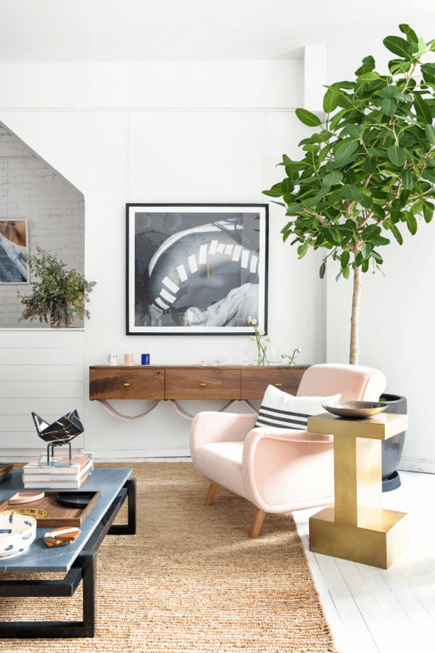 furniture shop interior with blush pink chair