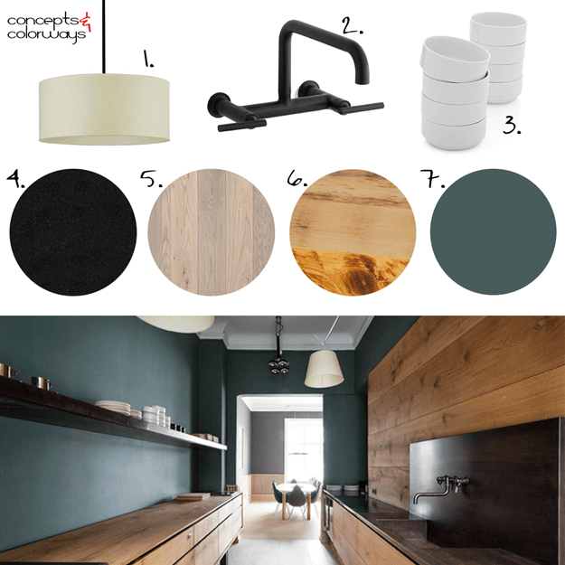 dark modern kitchen interior mood board