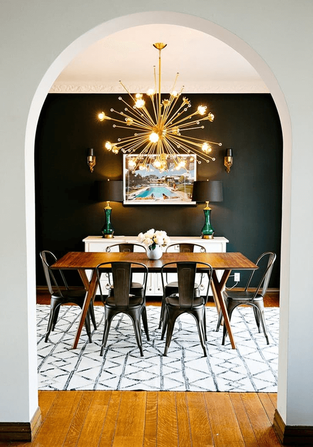 mid-century modern eclectic dining room