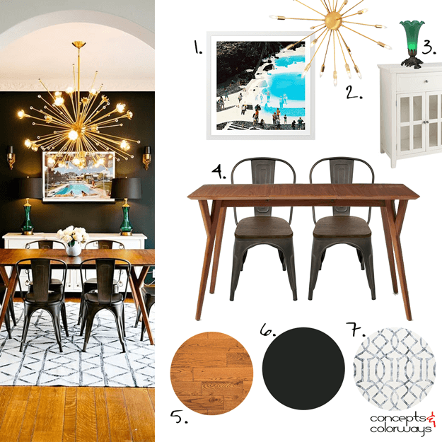 mid-century modern dining room mood board