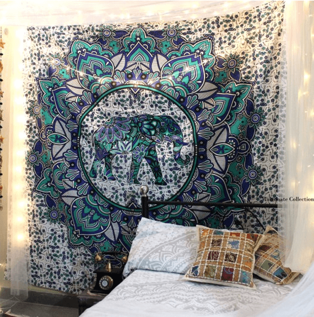 teal blue-green elephant wall tapestry