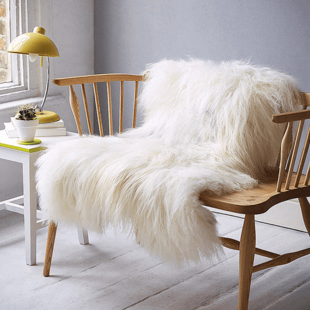 ivory long haired sheepskin throw
