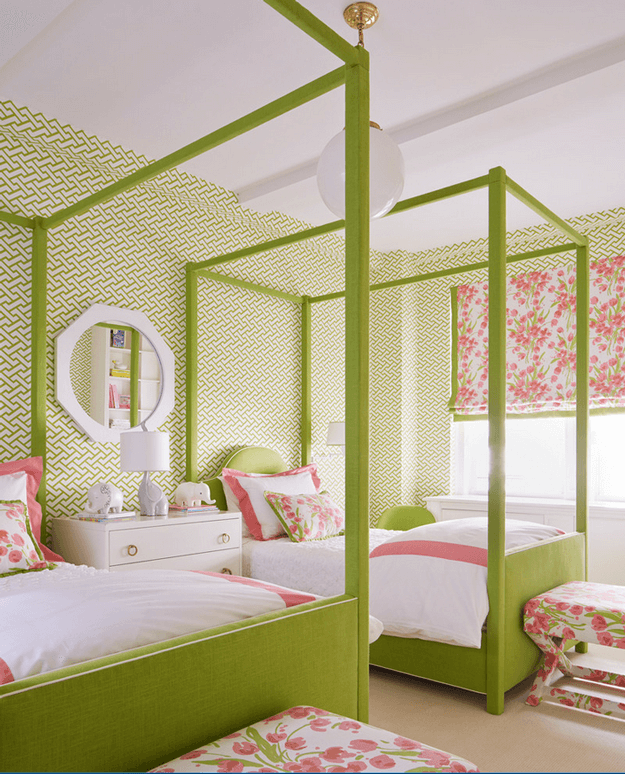 lime green pink and white bedroom