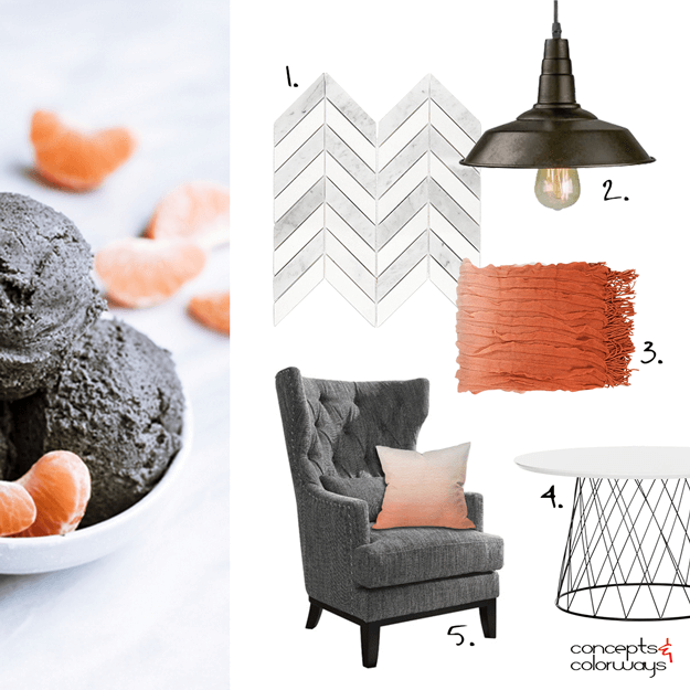 white dark brown and orange interior design mood board
