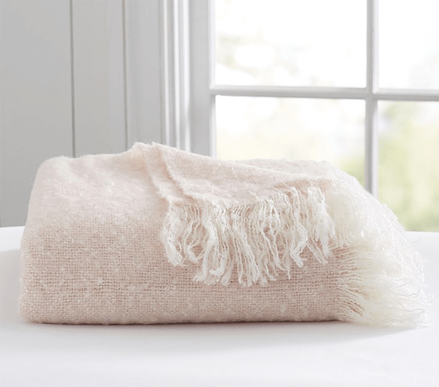 pale pink mohair throw blanket