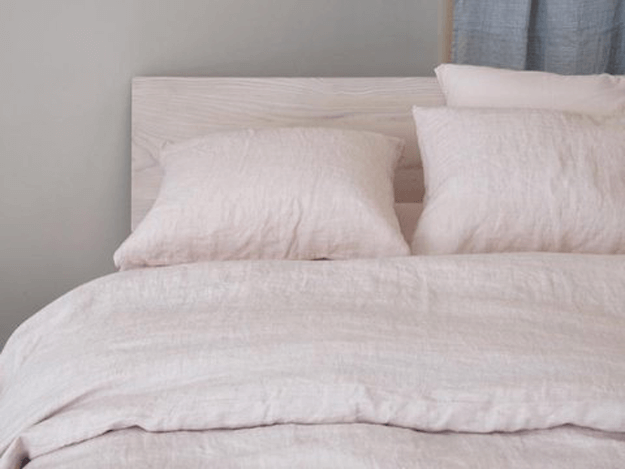 pale pink linen bedding