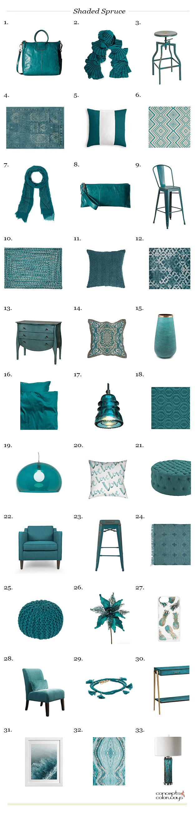 pantone shaded spruce interior design product roundup