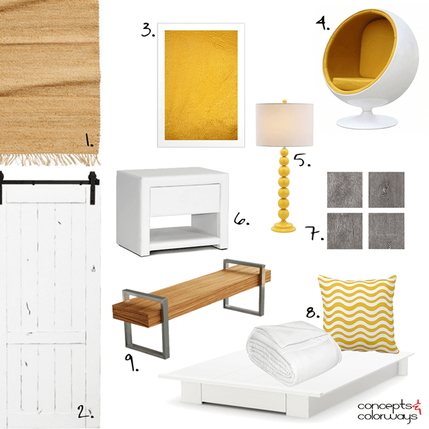 yellow and white bedroom design mood board