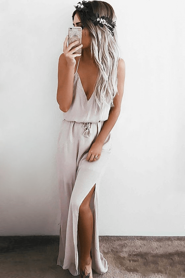 light taupe maxi dress on tan model