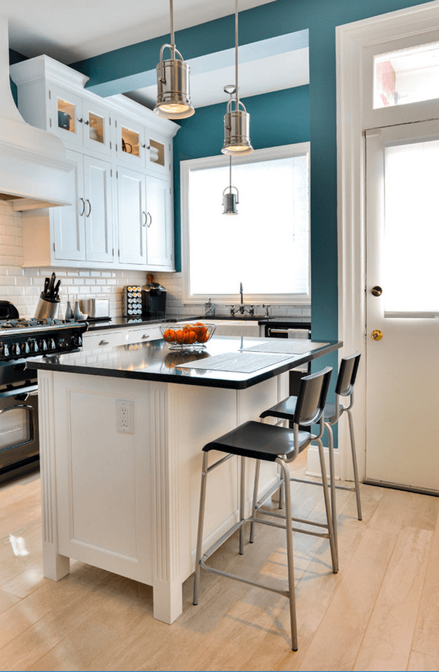 teal blue and white kitchen