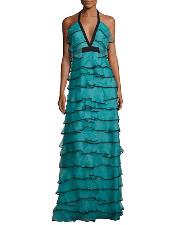 teal silk halter gown