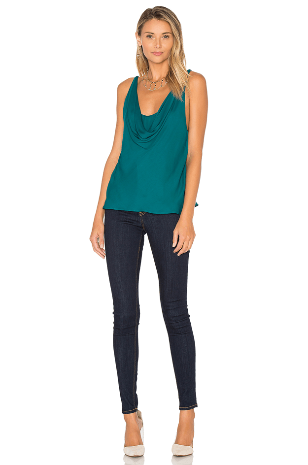 teal green cowl neck tank