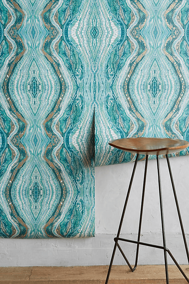 teal striation wallpaper