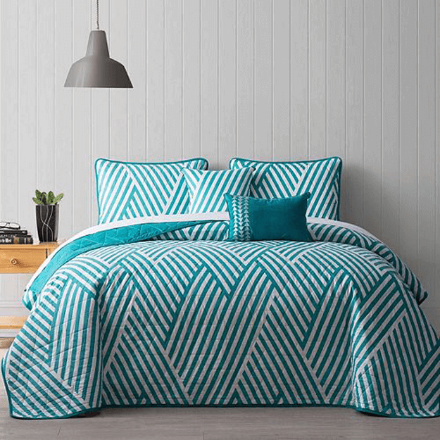 teal green striped bedding